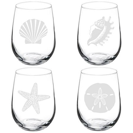 - Set of 4 Wine Glass Goblet Sea Shells Sea Shore Collection (17 oz Stemless),MIP