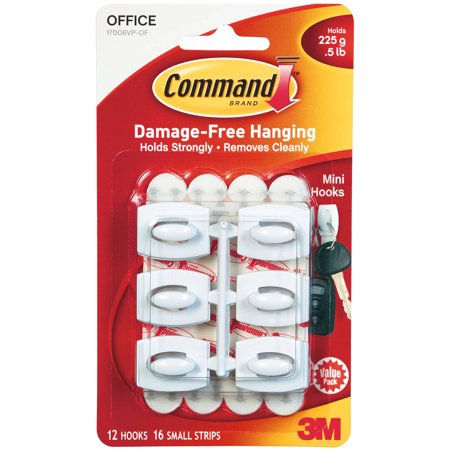 Command Mini Hooks, White, 12 Hooks, 16 Strips/Pack
