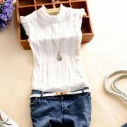 EFINNY Women Summer Sleeveless Office Work Casual T-Shirt Tops Blouses