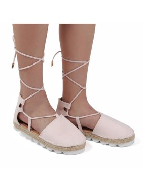 c61e215d4d6 Product Image Summer Women Casual Shoes Size 10 Ankle Strappy Sandals Lace  Up Ballet Flats Shoes