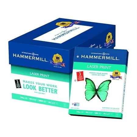 - Hammermill Laser Print Office Paper, 3-Hole Punch, 98 Brightness, 24lb, Letter, White, 500/Ream 10768-1
