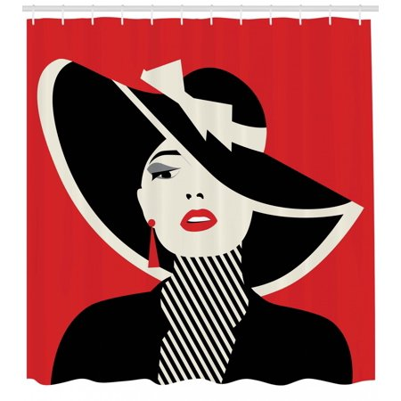 Girls Shower Curtain, French Style Icon in Shabby Chic Classical Vintage Hat and Striped Coat Design Print, Fabric Bathroom Set with Hooks, Red Black, by Ambesonne - Girls In Shower