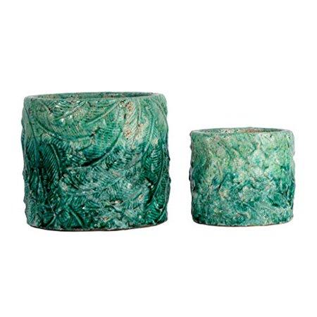 Image of Patterned Terracotta Vases - Crackled Teal - Set of Two