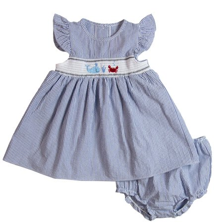 Good Lad Newborn/Infant Girls Navy Seersucker Smocked Sundress with Whale and Crab