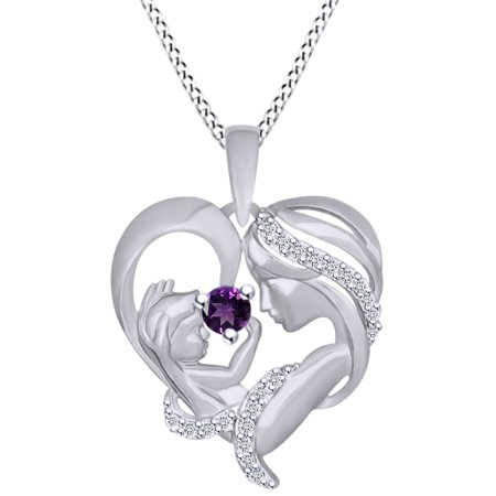 - Round Cut Simulated Amethyst & White Cubic Zirconia Mom With Child Heart Pendant Necklace In 14k White Gold Over Sterling Silver