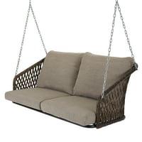 Mainstays Battle Creek Outdoor Wicker Porch Swing w/Cushions