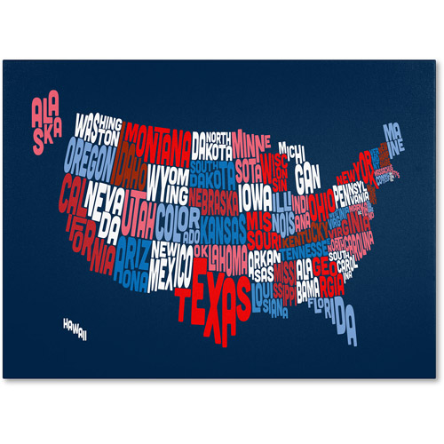 Trademark Art 'USA States Txt Map 2' Canvas Art by Michael Tompsett