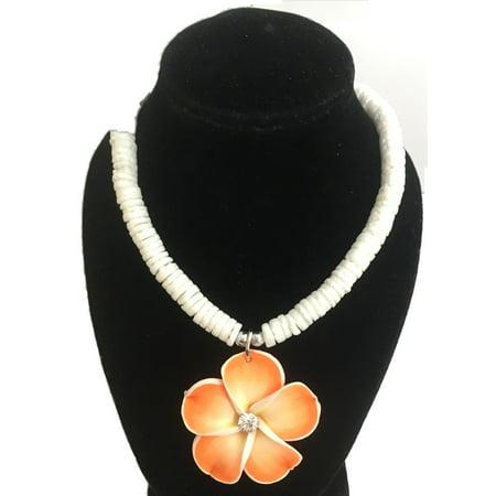 Puka Shell & Orange Plumeria Flower Necklace Orange Shell Necklace