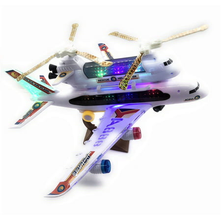 2-in-1 Kids Airplane & Helicopter Toy Bump & Go Action Airplane Toy Airliner Airbus w/ Attached Rescue Helicopter , Flashing 4D Lights & Jet Engine Sounds | Take-A-Part Airplane Toy For