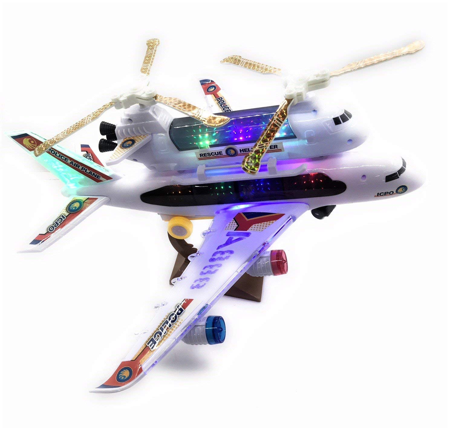 2-in-1 Kids Airplane & Helicopter Toy Bump & Go Action Airplane Toy Airliner Airbus w/ Attached Rescue Helicopter , Flashing 4D Lights & Jet Engine Sounds | Take-A-Part Airplane Toy For Kids