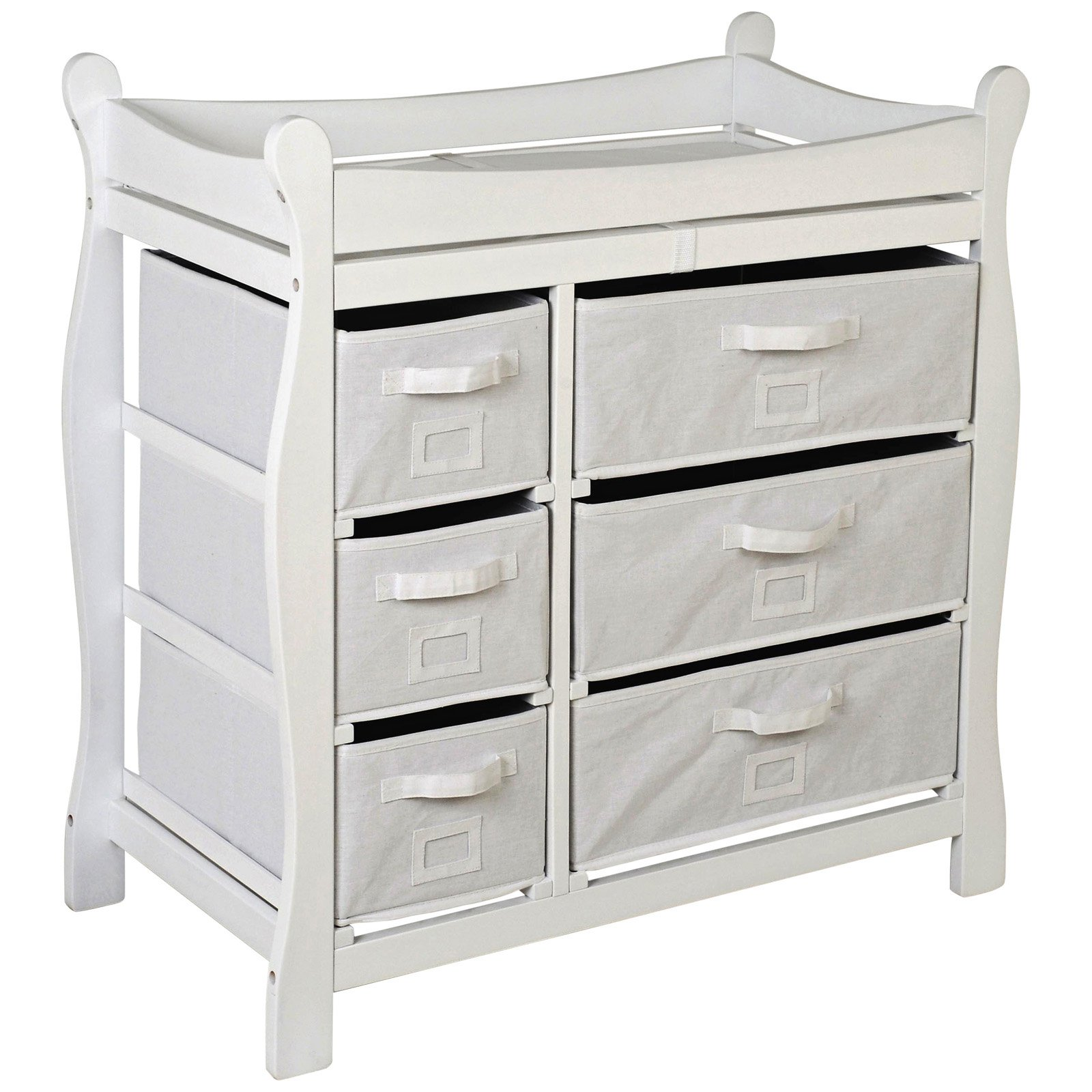 Badger Basket - Changing Table with Six Baskets, White