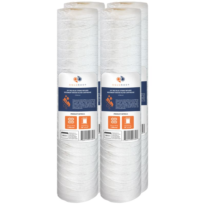 "4PK of 20"" Big Blue Whole House String Wound Sediment Water Filter Cartridge 5µm by Aquaboon"