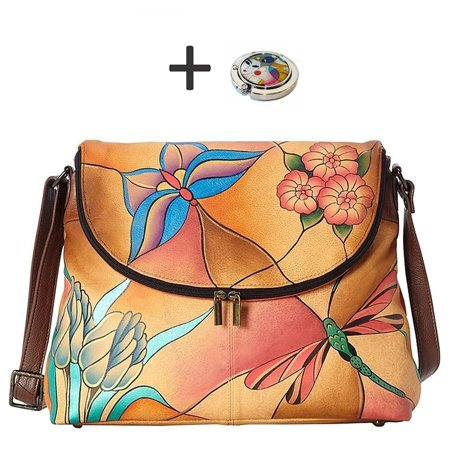 Chka Anna Hobo Handbag Hand Painted Design On Real Leather Purse With Holder Flap
