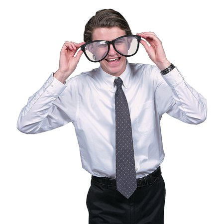 Black Jumbo Nerd Geek Glasses Clear Lens  (10 1/4