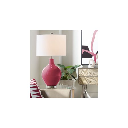 Color Plus Modern Table Lamp Antique Red Glass Ovo White Linen Drum Shade for Living Room Family Bedroom Bedside Nightstand Office