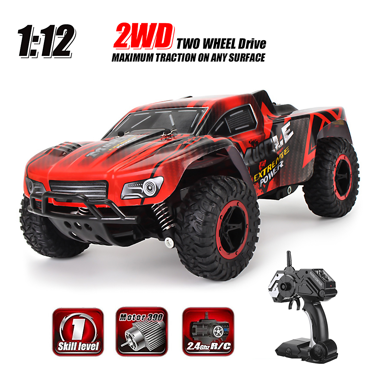 1 16 Scale 2.4GHZ Remote Control Truck Electric RC Car High Speed Monster Off Road Red Good Crash Resistance... by