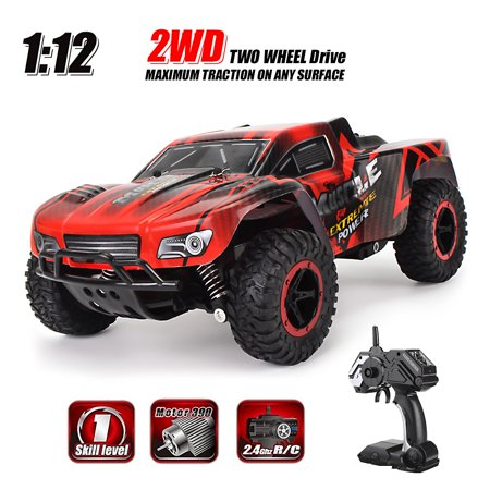 1/16 Scale 2.4GHZ Remote Control Truck Electric RC Car High Speed Monster Off Road Red Good Crash Resistance Christmas Kid Birthday Toy