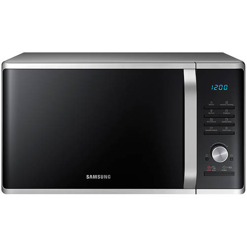 Samsung 1.1 cu ft Countertop Microwave with Ceramic Enamel Interior, Silver Sand