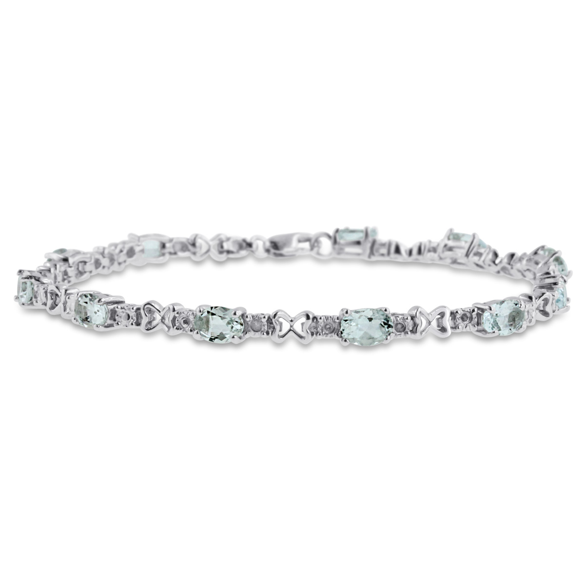 4 1 4 Carat Aquamarine and Diamond Bracelet in Sterling Silver 7 inches by SuperJeweler