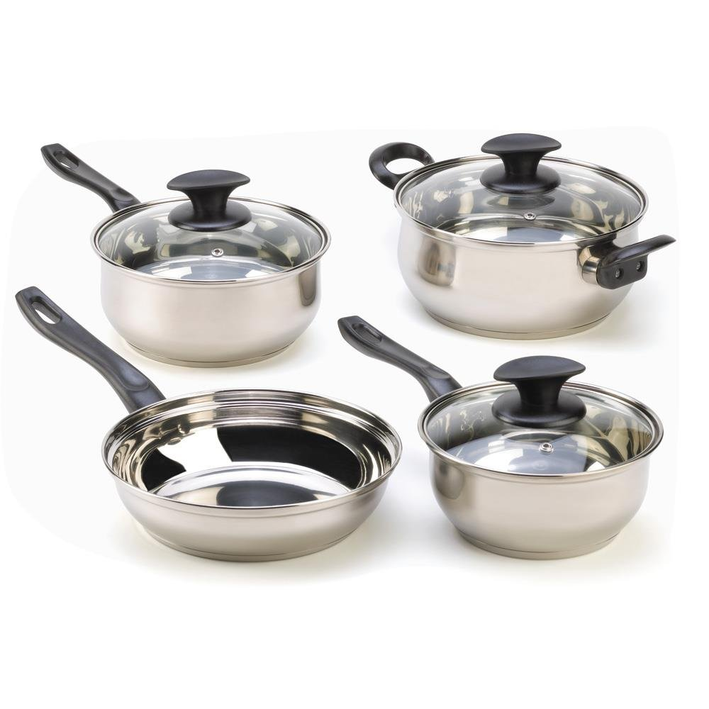 Steel Cookware Set, 7-piece Stainless Kitchen Stovetop Silver Cooking Pot Set