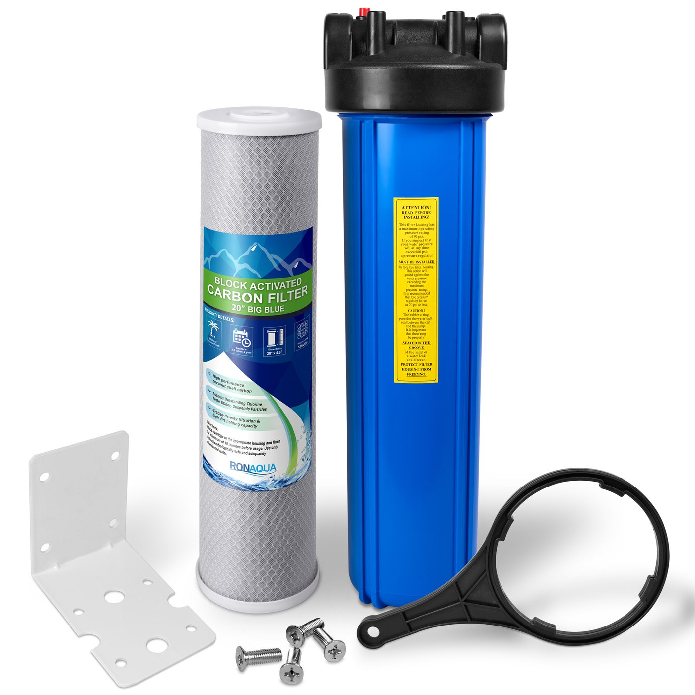 "20"" Big Blue Whole House Water Filter w/ 5 Micron Activated Carbon Block Water Filter Cartridge"