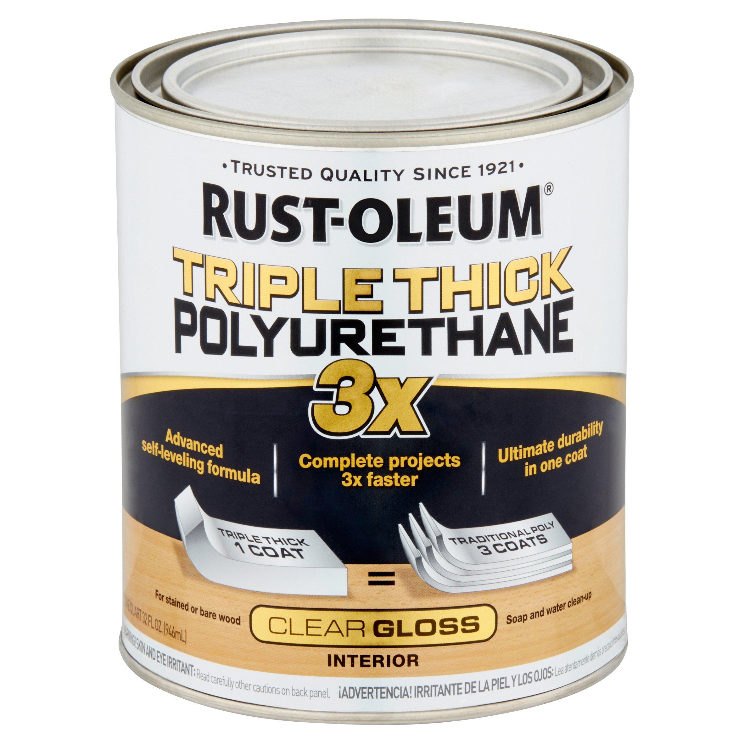 Rust-Oleum Triple Thick Polyurethane Quart Clear Gloss, 32 fl oz