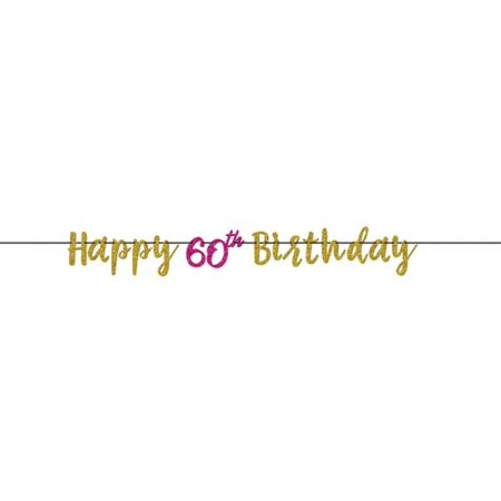 Over the Hill 'Hot Pink and Gold' 60th Birthday Glitter Banner - 60th Birthday Banner Ideas