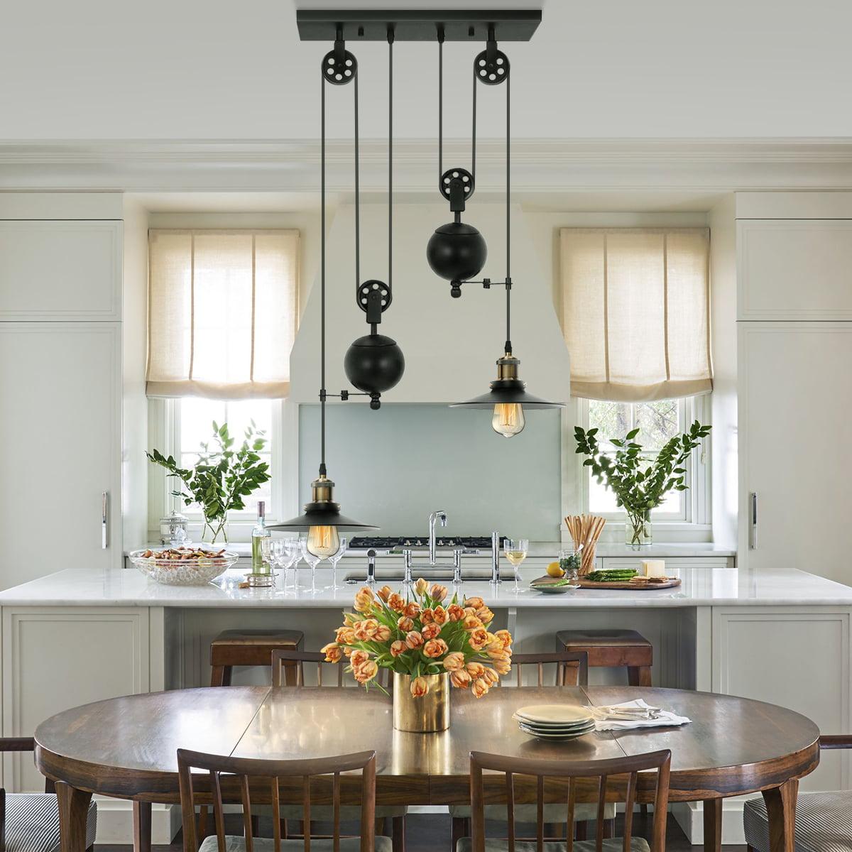 Rustic Dining Room Lighting: Two/Three Light Pulley Pendant Light, Kitchen Island Light