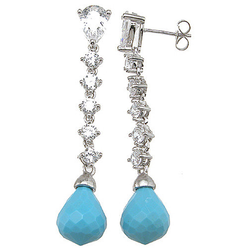 Plutus Partners Pear Cut Turquoise Drop Earrings