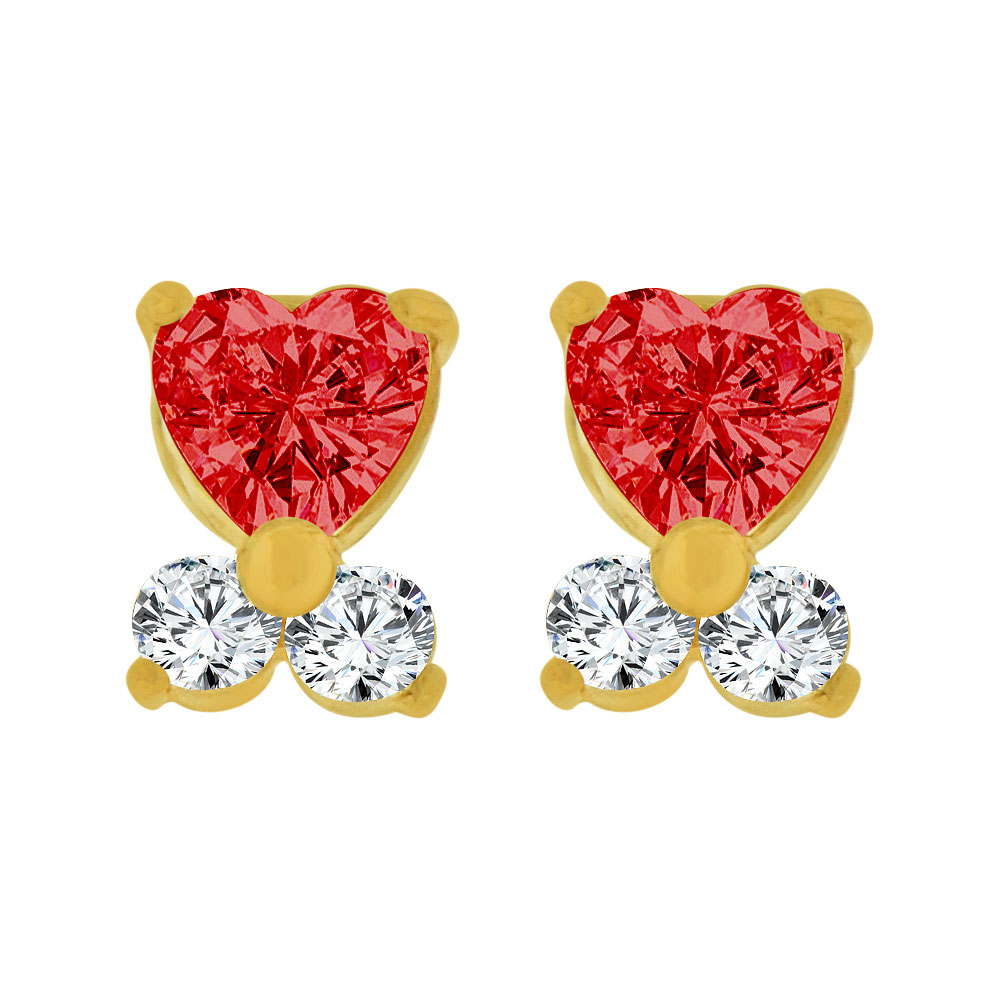 14k Yellow Gold, Mini Baby Heart Stud Screw Back Earring Red Jul Created CZ