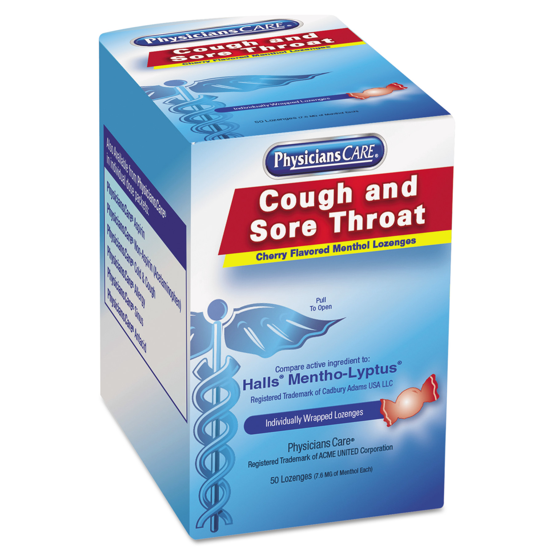 PhysiciansCare Cough and Sore Throat, Cherry Menthol Lozenges, 50 Individually Wrapped per Box