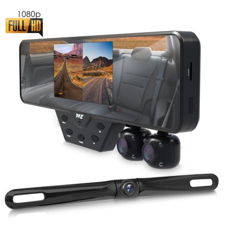 PYLE PLCMDVR54 - Multi Dash Cam Car Video Recording System - Rearview Backup & Driving HD Camera Record Kit with 1080p Night Vision Cam (Camera For Back Of Car)