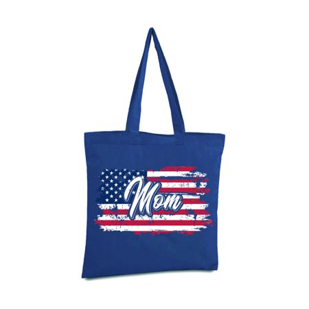 Pro Tote (Awkward Styles American Flag Mom Tote Bag Patriotic Gifts Vintage USA Tote Bag for Mom USA Pride Pro America Mom Shopper Bag Stripes and Stars 4th of July Canvas Bag for Mom 51 States )