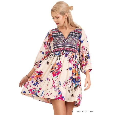 Umgee Women's IVORY Floral Bohemian Tunic or Dress ()