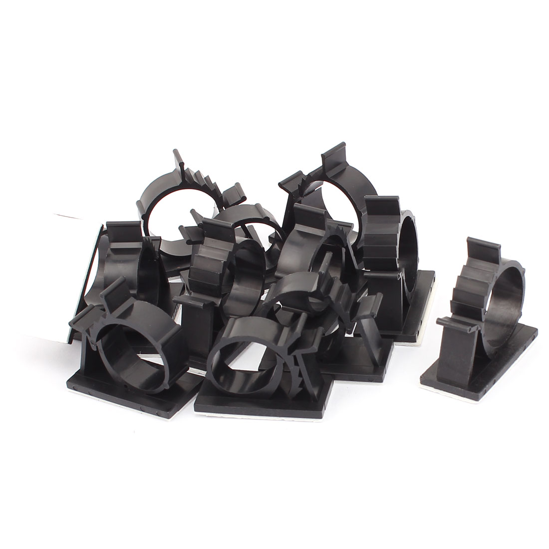 12 Pcs Self-adhesive Cord Cable Tie Clamp Sticker Clip Holder Black 25.4mm