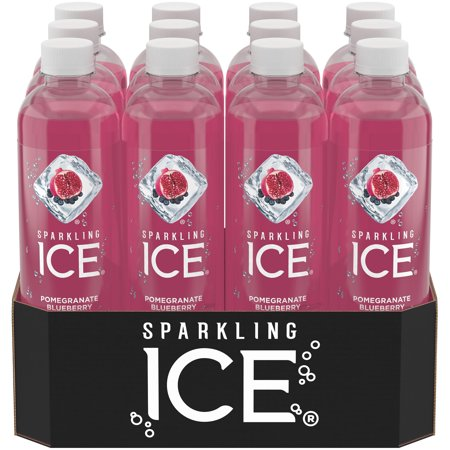 Sparkling Ice Naturally Flavored Sparkling Water, Pomegranate Blueberry, 17 Fl Oz, 12 Count - Halloween Drinks Dry Ice Alcoholic