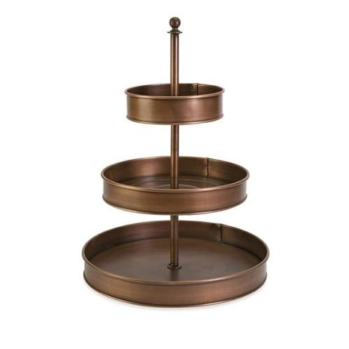 "20"" 3-Tier Galvanized Round Copper-Plated Iron Stand"