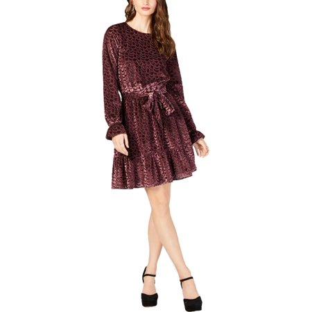 MICHAEL KORS Womens Purple Burnout Velvet Flounce Long Sleeve Jewel Neck Above The Knee A-Line Dress  Size: S Stretch Velvet Long A-line