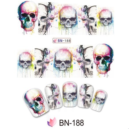 10pcs Halloween Skull Nail Wraps Medical Grade Stickers Set Adhesive Polish Foils Nail Art Tool Safe&Non-toxic, Not Easy to Fall off - Seventeen Magazine Halloween Nails