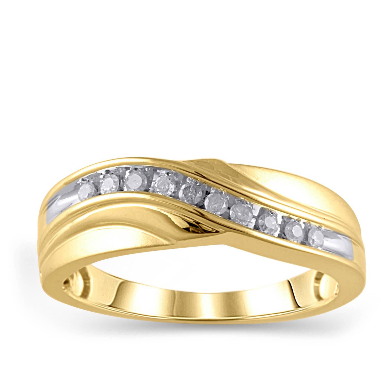 1/5 Carat T.W. Diamond 10kt Yellow Gold Men's Band