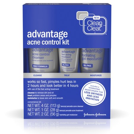 Clean & Clear Advantage Acne Control Kit with Benzoyl Peroxide, 3