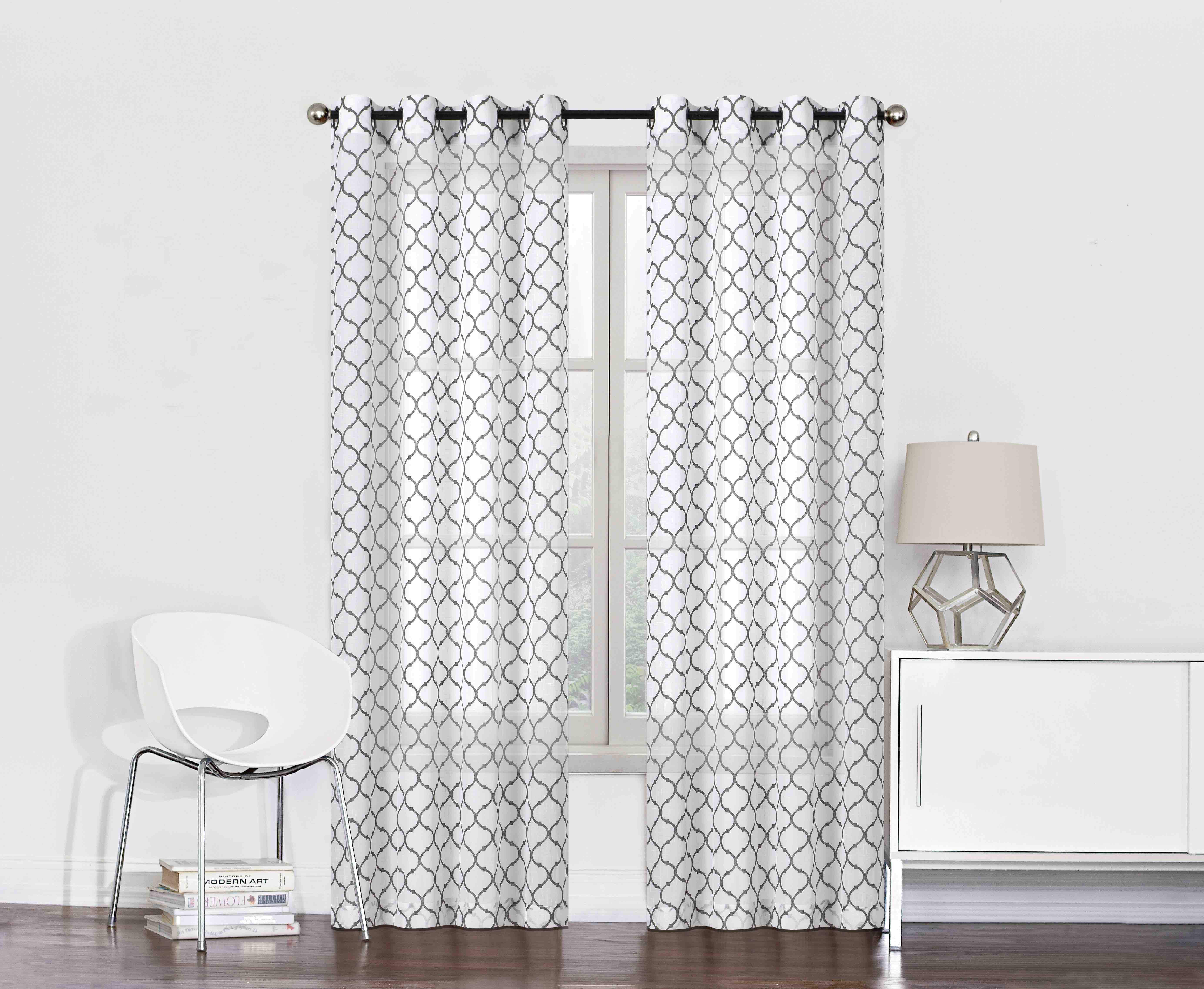 2 pack morgan semi sheer flocked lattice curtains grey