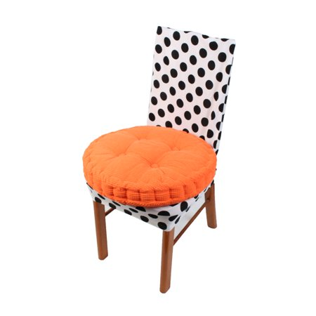 Unique Bargains Orange Home Corduroy Round Design Thickened  Chair Cushion Pad Cover