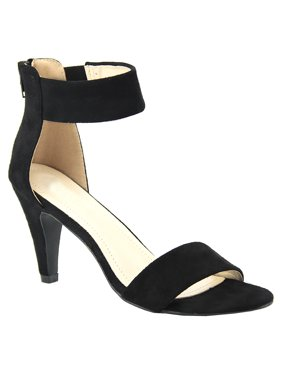 Womens Classic Comfort Open Toe Mid Heel Ankle Strap Dress Sandals (FREE SHIPPING)