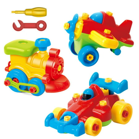 Take Apart Toys - Toy Airplane - Toy Train - Toy Racing Car for kids with tool Set - The Take-A-Part Play Set Construction Engineering Building Game Toys For Boys And Girls 3 Year Olds And Up - 3 Pack](Popular Toys For 4 Year Old Boy)