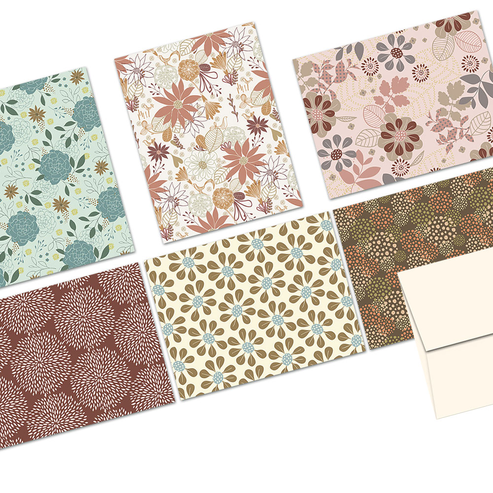 72 Note Cards  - Floral Frenzy - 6 Designs  - Blank Cards - Off-White Ivory Envelopes Included