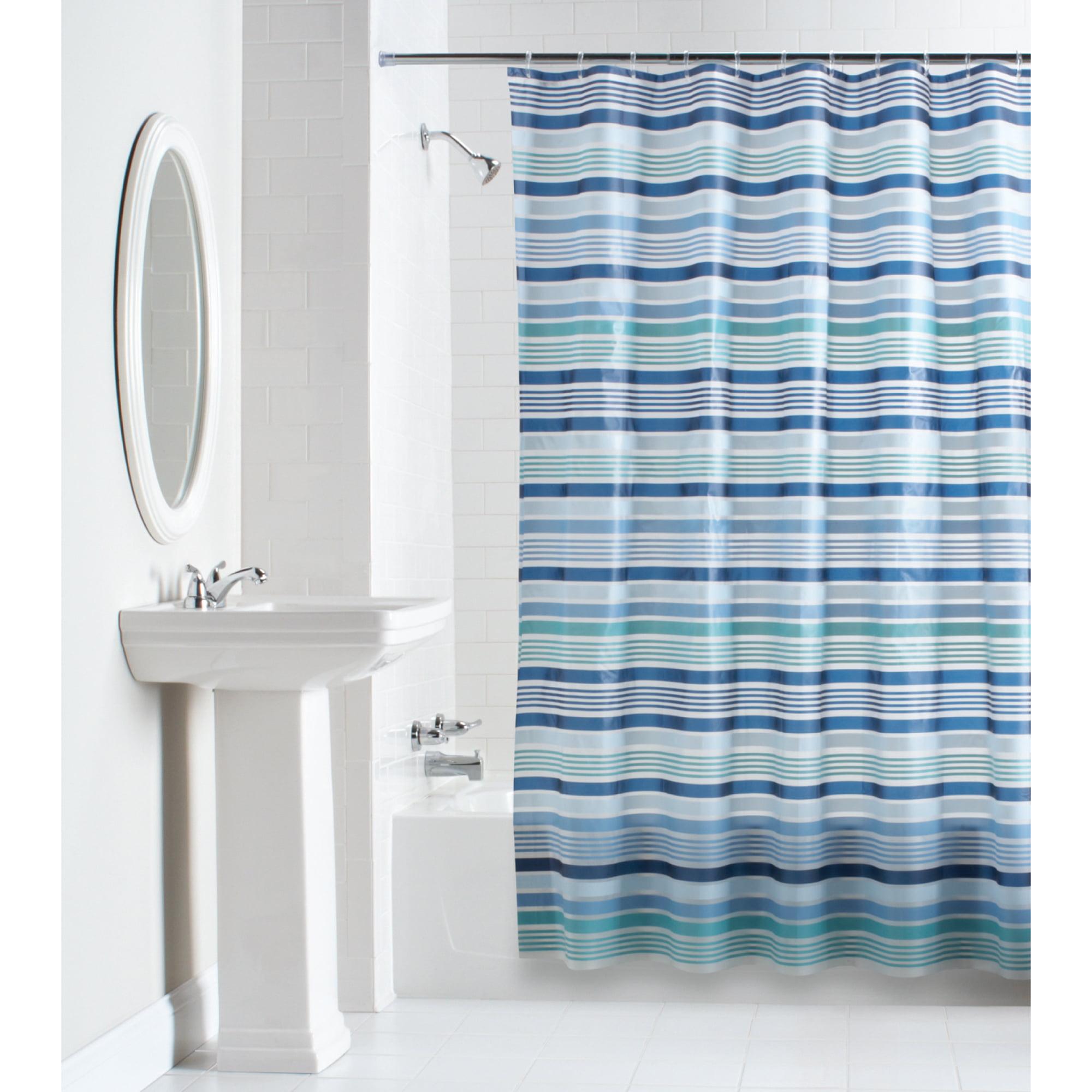 Mainstays Blue Stripe PEVA Shower Curtain, 1 Each