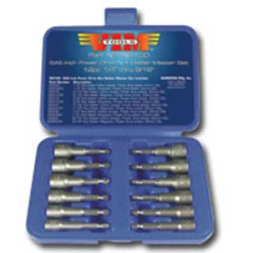 VIM Tools NS100-03 12 Piece SAE Power Drive Nut Setter Set with Magnetic and Hollow Point Drivers