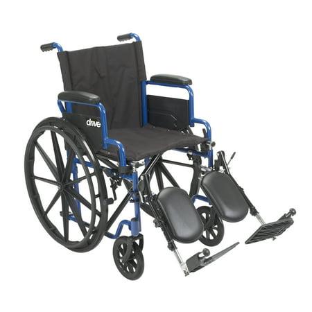 Drive Medical Blue Streak Wheelchair with Flip Back Desk Arms, Elevating Leg Rests, 16