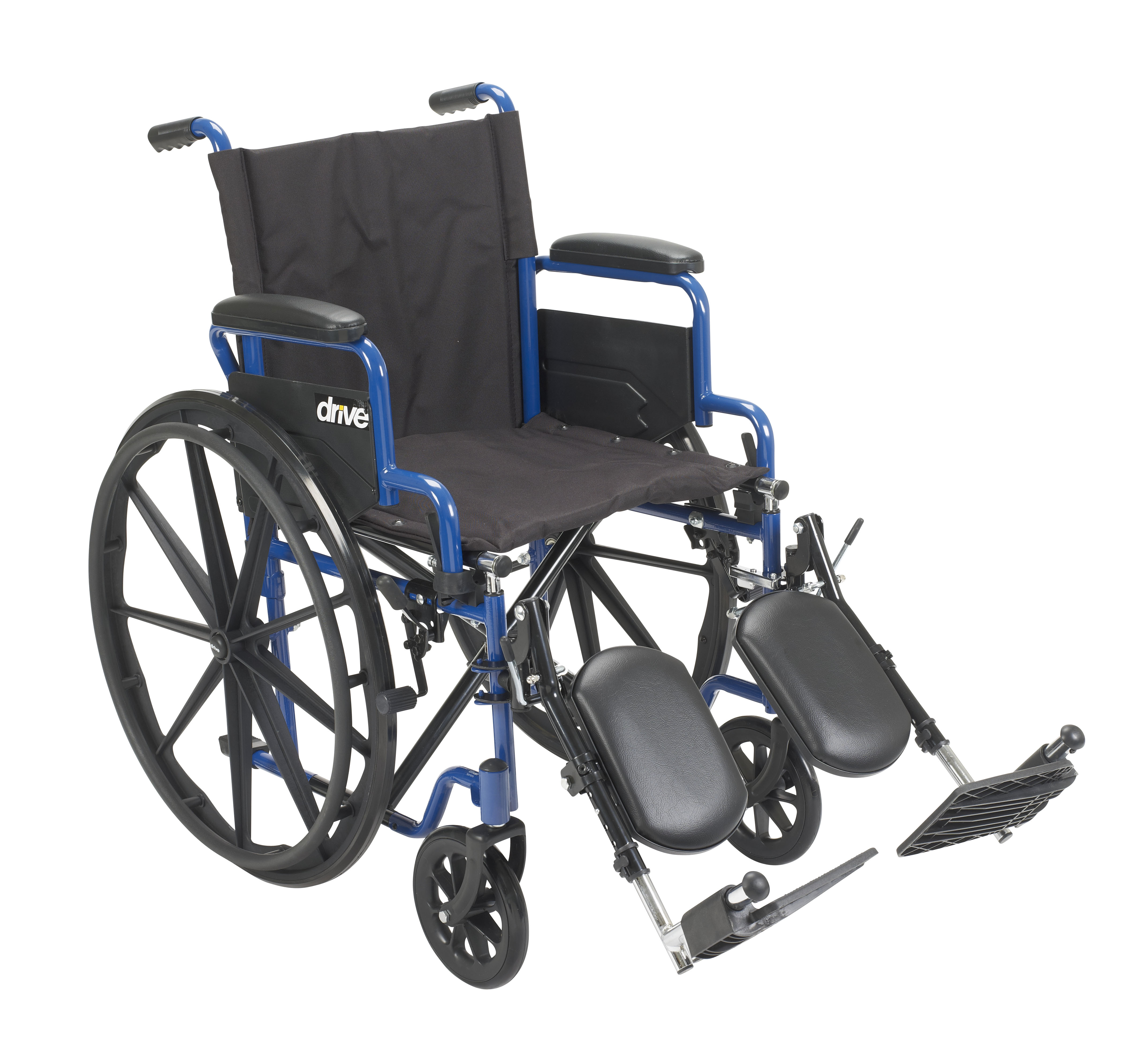 """Drive Medical Blue Streak Wheelchair with Flip Back Desk Arms, Elevating Leg Rests, 16"""" Seat"""